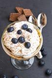 Tiramisu dessert in a glass with mascarpone cream and blueberrie. S stock photos