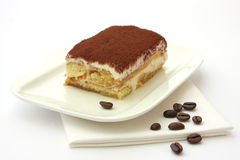 Tiramisu dessert served on a plate Royalty Free Stock Photos