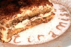 Tiramisu dessert served on plate with cacao decora Stock Photos