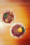 Tiramisu dessert for two, insta-retro effect. Toned Royalty Free Stock Image