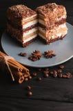 Tiramisu doux de dessert dans une coupe d'un plat gris sur un fond en bois noir avec des épices : bâtons de cannelle et badan Image stock