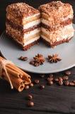 Tiramisu doux de dessert dans une coupe d'un plat gris sur un fond en bois noir avec des épices : bâtons de cannelle et badan Images stock
