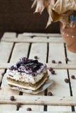 Tiramisu doux de gâteau Photographie stock