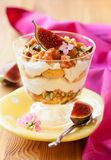Tiramisu with fig. Served in a glass Royalty Free Stock Photos
