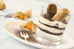 Tiramisu in a glass Stock Photo
