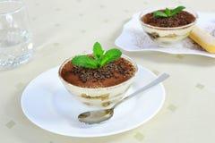 Tiramisu in glass bowl - closeup Stock Images