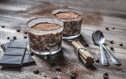 Tiramisu in a glass cup royalty free stock photography