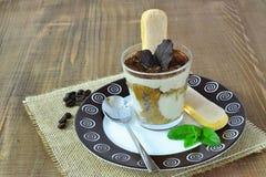 Tiramisu in glass - dessert royalty free stock images