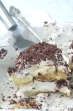 Tiramisu Ice Cream Cake. A slice of Tiramisu Ice cream cake waiting to be served Royalty Free Stock Images