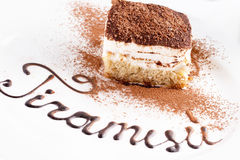 Tiramisu isolated on the white background Stock Images