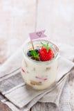 Tiramisu italien fait maison de dessert avec les fraises, la menthe et le cacao dans des pots en verre Photos libres de droits