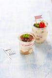 Tiramisu italien fait maison de dessert avec les fraises, la menthe et le cacao dans des pots en verre Images libres de droits