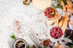 Tiramisu with mint and raspberries Royalty Free Stock Image