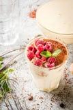 Tiramisu with mint and raspberries Stock Photos