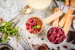 Tiramisu with mint and raspberries Stock Photo