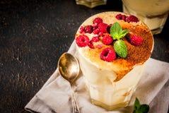 Tiramisu with mint and raspberries Stock Image
