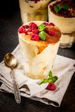 Tiramisu with mint and raspberries royalty free stock photography