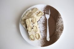 Tiramisu mit italienischen savoiardi Plätzchen, mascarpone, Milch chocol Stockfotografie