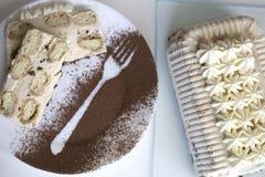 Tiramisu mit italienischen savoiardi Plätzchen, mascarpone, Milch chocol Lizenzfreies Stockbild