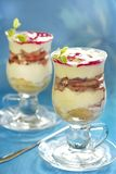 Tiramisu with pear and cherry syrup Royalty Free Stock Image