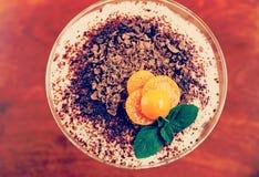 Tiramisu with physalis and mint, toned. Tiramisu with physalis and mint, insta-retro toned effect Stock Photos