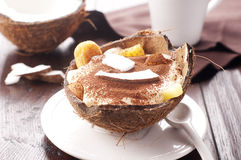 Tiramisu with pineapple and coconut Royalty Free Stock Photography
