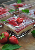 Tiramisu with strawberries Royalty Free Stock Images