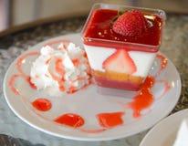 Tiramisu with Strawberry. On dish Royalty Free Stock Images