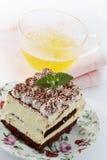Tiramisu with tea Royalty Free Stock Image