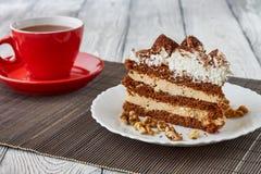 Tiramisu tort z orzechami włoskimi i kawą Obraz Royalty Free