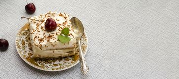 Tiramisu, a traditional Italian dessert in a light background. Close-up stock photo