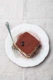 Tiramisu, traditional Italian dessert on a white plate Top view Copy space.  Stock Photo