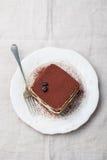 Tiramisu, tradycyjny Włoski deser na białej półkowej Odgórnego widoku kopii przestrzeni Zdjęcie Stock