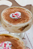 Tiramisu. On Valentine's Day, heart-shape stock image