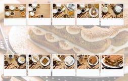 Tiramisu van het voorbereidings Italiaanse dessert in de voetstappen van collage stock afbeeldingen