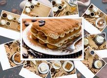 Tiramisu van het voorbereidings Italiaanse dessert in de voetstappen van collage stock fotografie