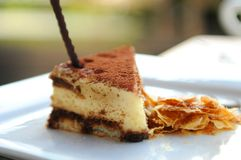 Tiramisu on a white plate Stock Photos