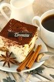 Tiramisu y café de la torta Foto de archivo libre de regalías