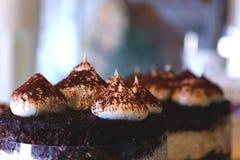Tiramisucake met cacao op het omhoog geschoten dicht Royalty-vrije Stock Afbeeldingen