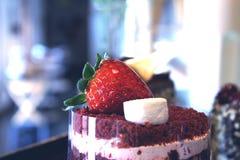 Tiramisucake met verse aardbeien en heemst Stock Fotografie