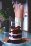 Tiramisucake met verse aardbeien en heemst Royalty-vrije Stock Afbeeldingen