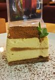 Tiramisuen med grated choklad och mintkaramellen fattar Arkivfoto