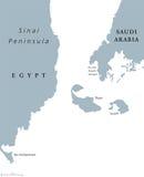 Tiran政治地图海峡  库存例证