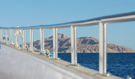 Tiran island red sea. Look from yacht on Tiran island reservation paradise for divers Royalty Free Stock Photography