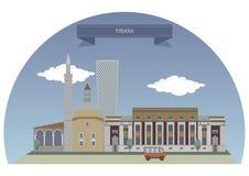 Tirana, Albanië vector illustratie