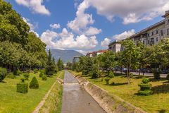 Lana river in the center of Tirana, Albania. stock photography