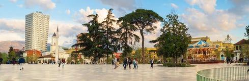 Newly reconstructed city central Skanderbeg square, citizens walking at pedestrian zone. Tirana, Albania. March 2019: Newly reconstructed city central stock image