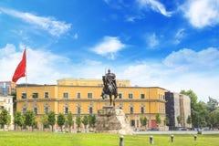 TIRANA, ALBANIA - MAY 12: Monument to Skanderbeg in Scanderbeg Square in the center of Tirana, Albania on MAY 12, 2016 in Tirana. On a sunny day royalty free stock image