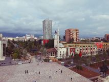 Tirana, Albania. May 2018: Panoramic view of newly renocated Skanderbeg square capital city center. Stock Photography