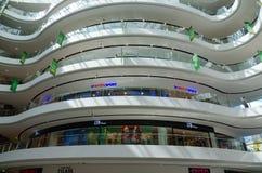 Interior view of modern shopping center Toptani, Tirana, Albania. TIRANA, ALBANIA - SEPTEMBER 6, 2017: Interior view of modern shopping center Toptani, Tirana Royalty Free Stock Photo